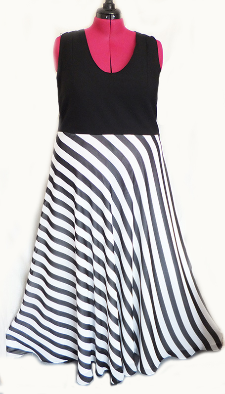 stripe evening dress
