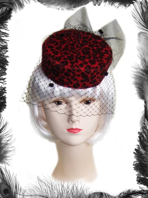 leopard print pill box hat