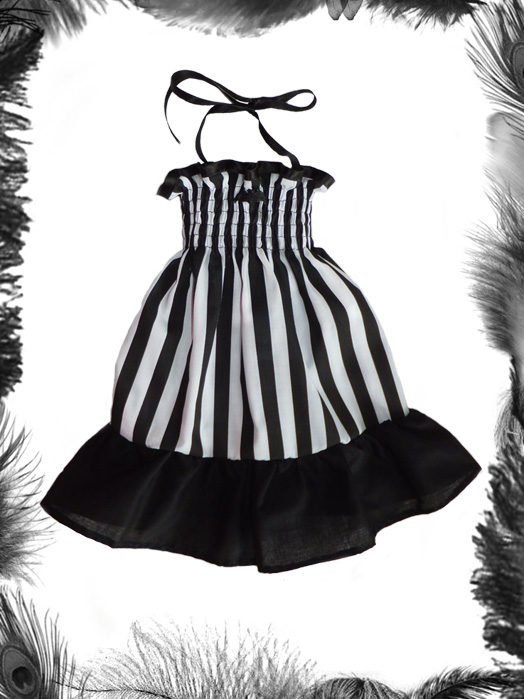 Baby Stripes Bat Summer Dress, Baby Goth
