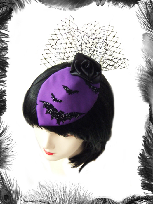 Bats & Rose Cocktail Hat, Gothic, Burlesque