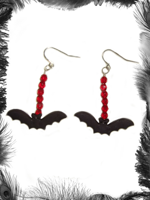 bat and bead earrings, gothic, psychobilly