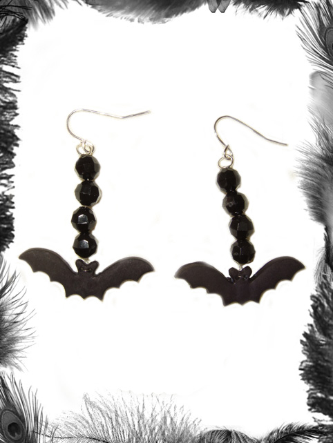 bats and bead earrings, gothic, psychobilly