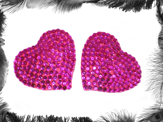 What Is Leather Made Of >> Rhinestone Heart burlesque Pasties, Burlesque Wear by ...