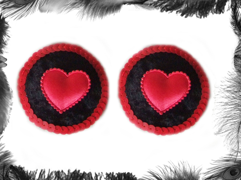 satin heart and sequin burlesque pasties