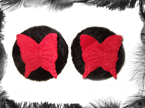 velvet butterfly nipple pasties, burlesque