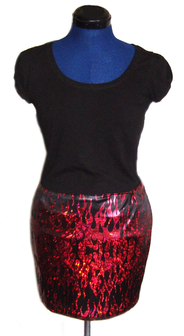 custom glam rock flames skirt