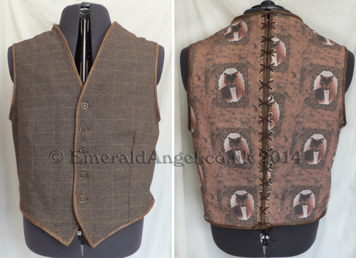 custom tweed and leather waistcoat, chap, steampunk