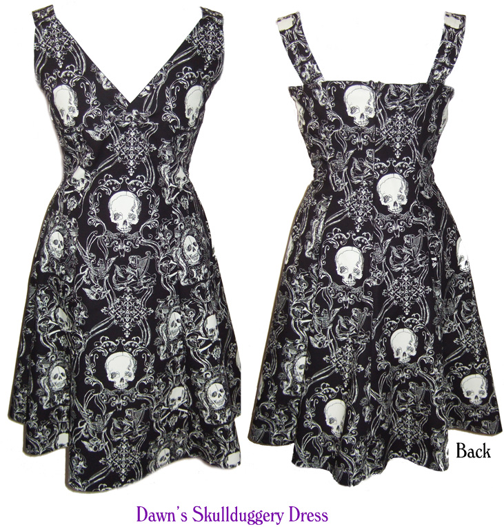 unique skullduggery dress, gothic, rockabilly