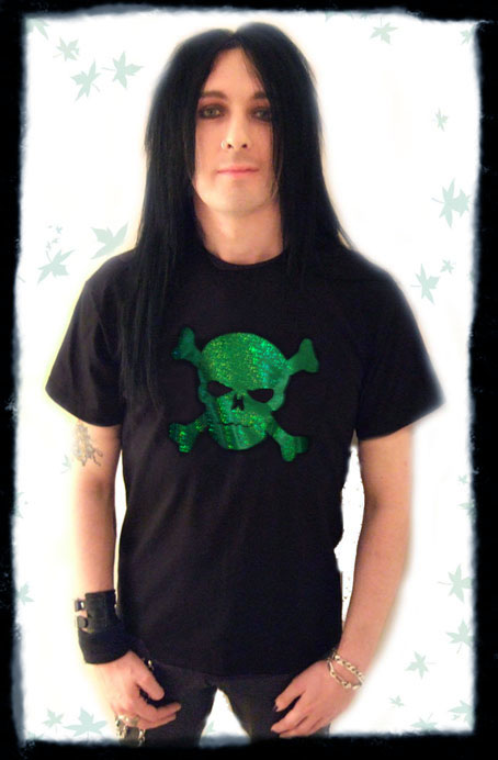 skull foil tshirt, glam rock, green, red