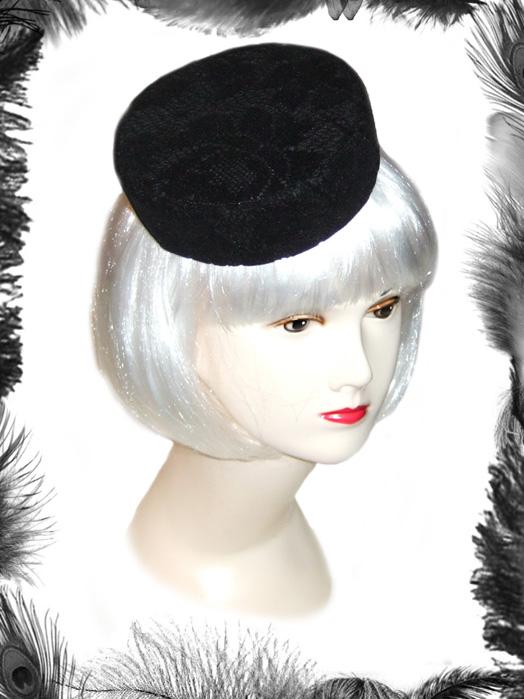 Vintage Style Lace Pill Box Hat, Burlesque Hat