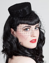 polka dot and rose pill box hat, rockabilly hat