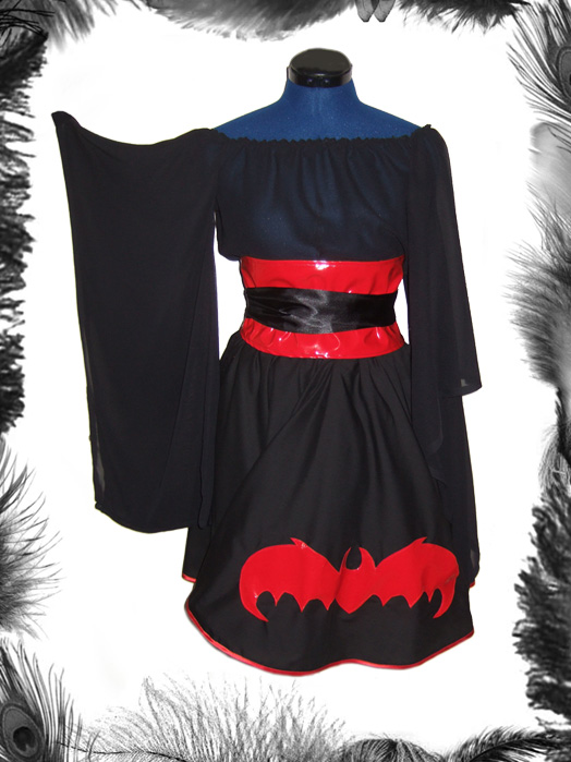 gothic bat full circle skirt, lolita, gothabilly