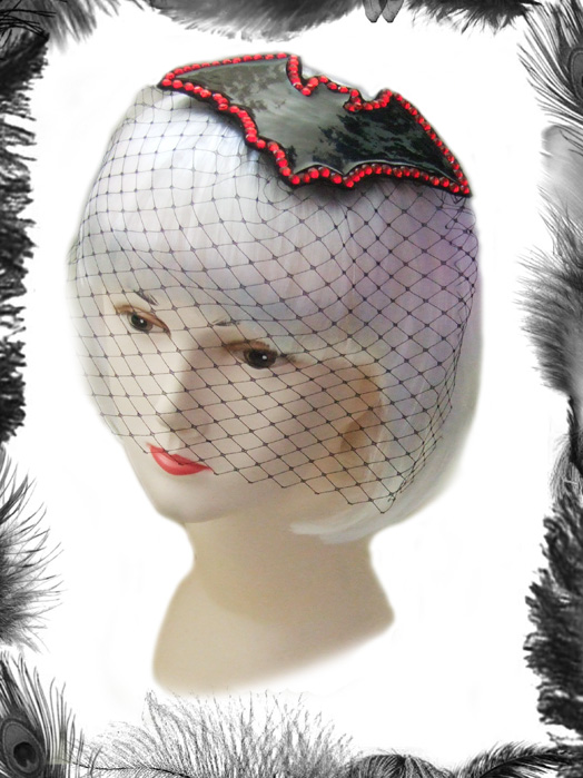 gothic bat and rhinestones fascinator