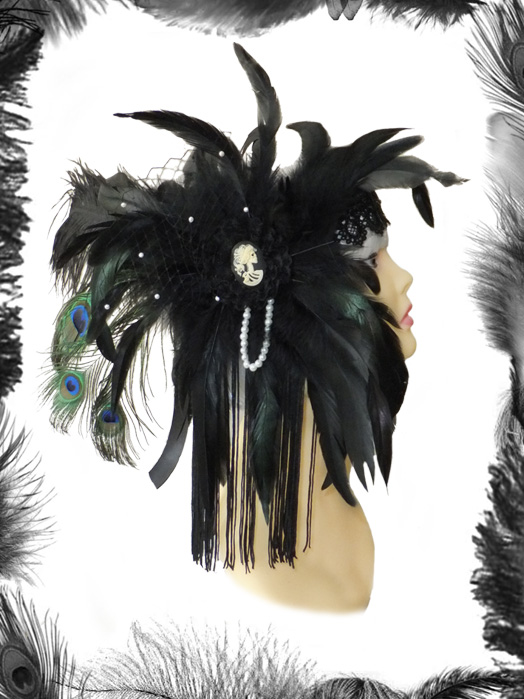 gothic flapper burlesque feathers, lace, swarovski headdress