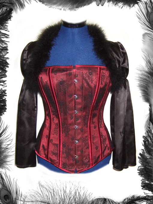 gothic black satin and feather shrug