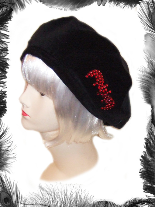 gothic velvet beret hat with bat motif, vampire