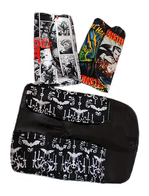 Gothic, horror, zombie make up brush holder roll