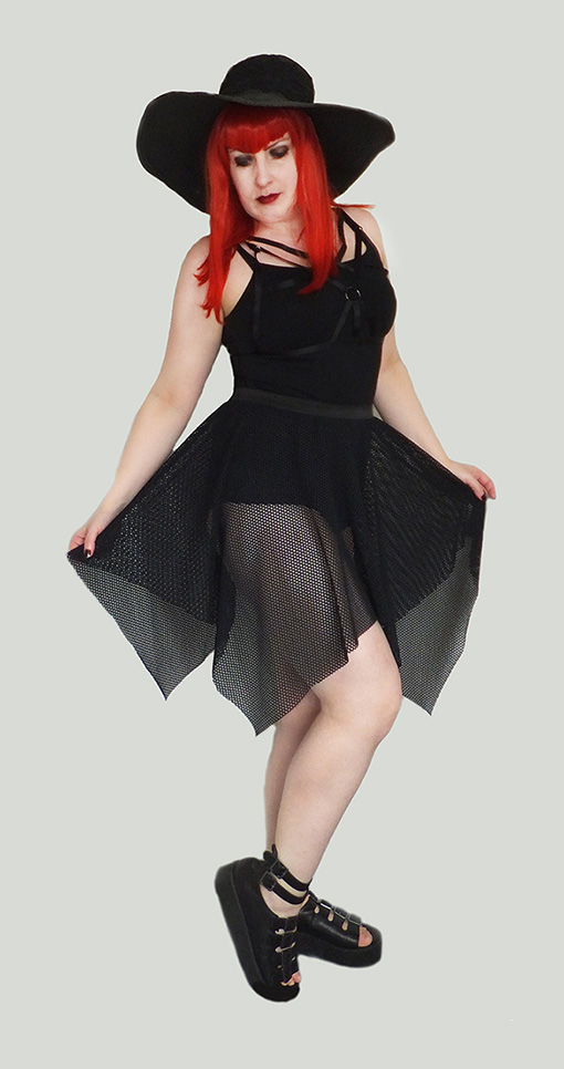 gothic mesh witch industrial skirt