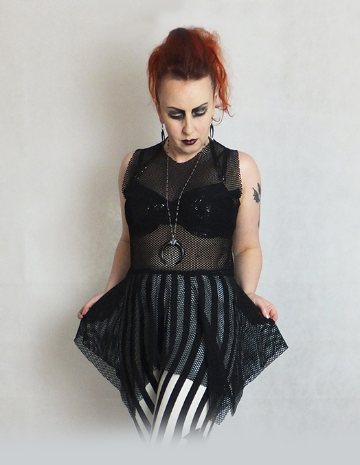 gothic industrial mesh tunic top