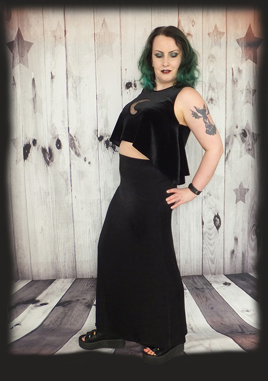 velvet moon crop top, gothic top