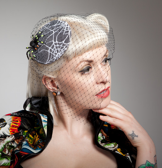 spider on spider web lace cocktail hat, gothic, psychobilly accessory