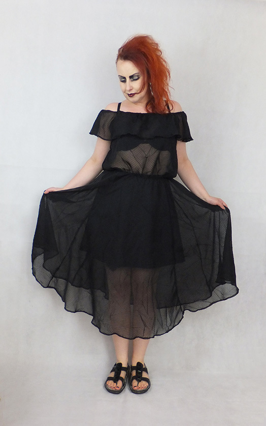chiffon gothic summer off shoulder dress