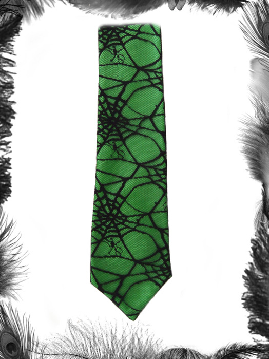 Gothic Pvc and spider web lace tie