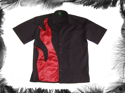 leopard print flame guys rockabilly shirt