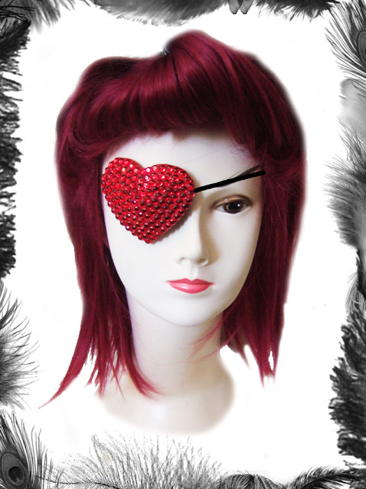Queen of Hearts Rhinestone Eye Patch
