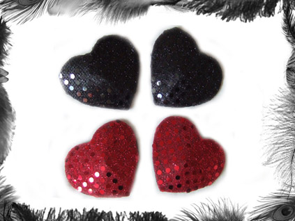 sequin heart nippel pasties burlesque wear
