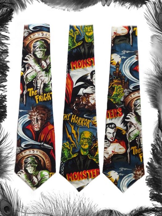 horror movie monsters tie, psychobilly, gothic