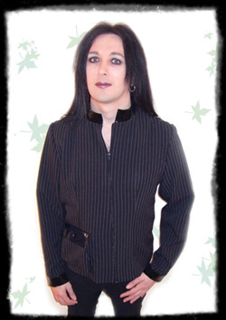 gothic pvc and pinstripe jacket