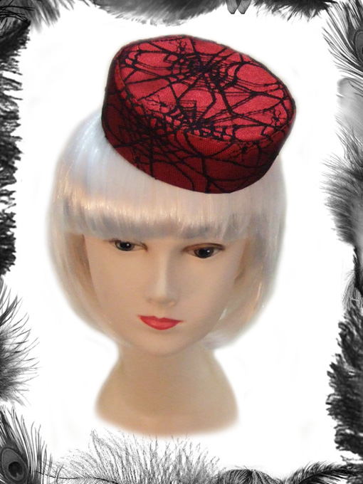 spider web lace pill box hat, gothic, psychobilly, burlesque