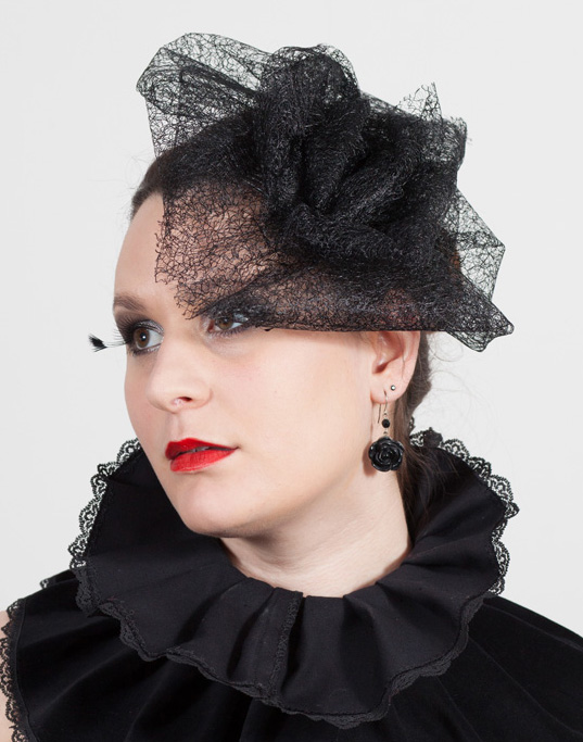 gothic lace rose cocktail hat
