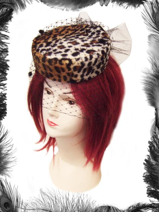 leopard print pill box hat, dita, rockabilly hat