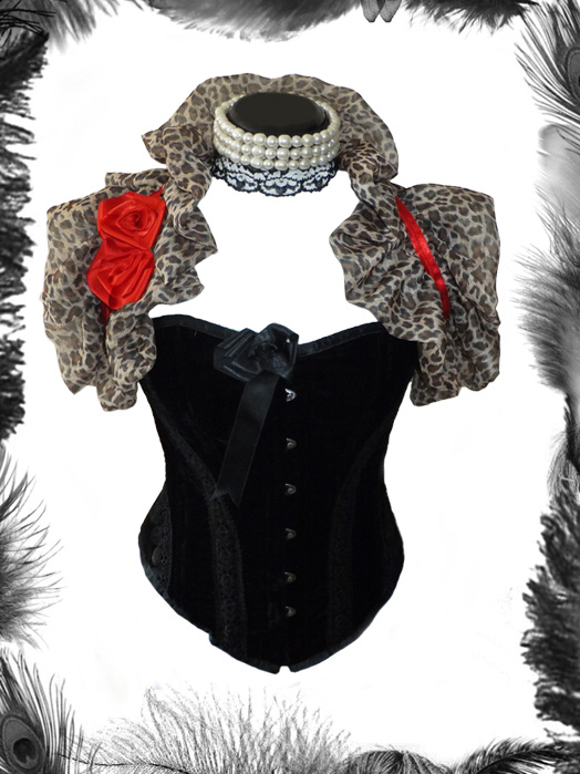 chiffon leopard print shrug with satin roses, rockabilly, pin up