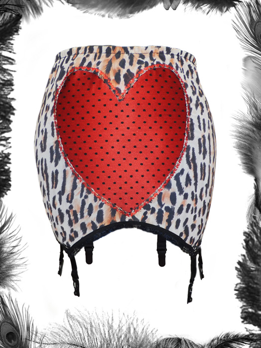 leopard print and satin heart girdle, rockabilly, vintage style