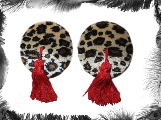 leopard print nipple pasties, burlesque, rockabilly