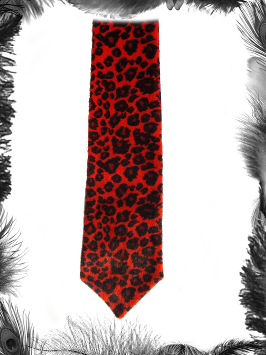 faux fur leopard print tie, rockabilly accessory