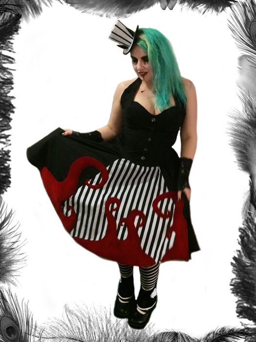 nightmare before christmas skirt, gothic, stripes