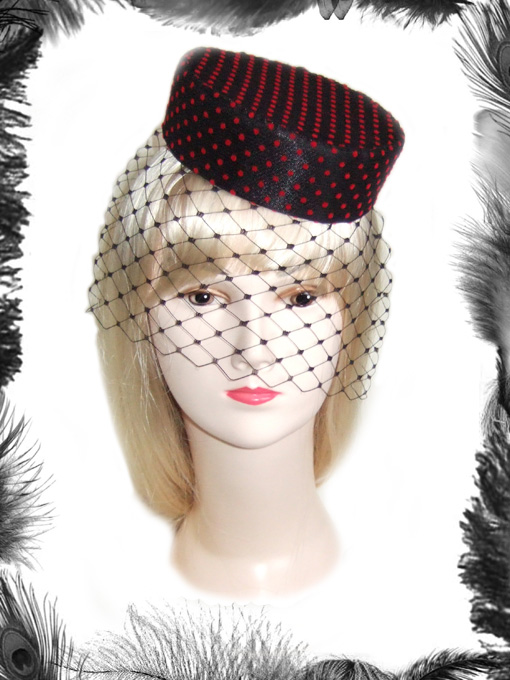 Polka Dot Pill Box Hat, Retro, Rockabilly, Dita