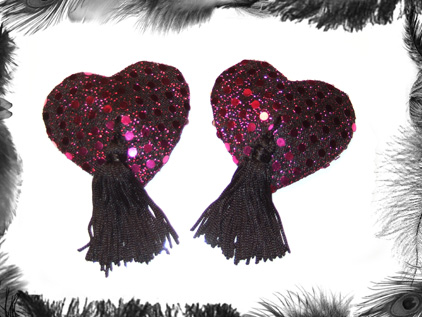 heart sequin nippel pasties burlesque wear