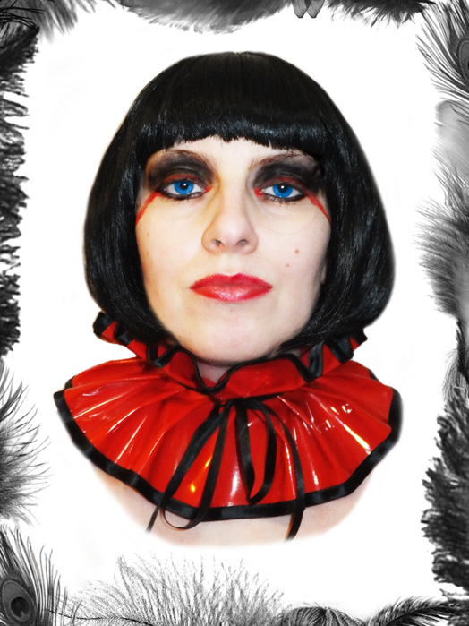 pvc & satin collar, neck ruff
