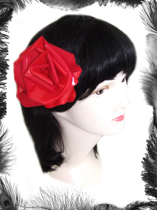 pvc rose hair flower, gothic, rockabilly