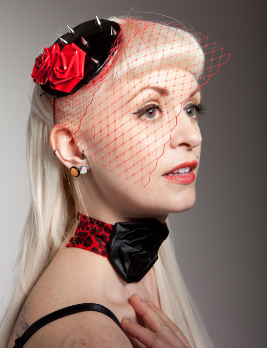 pvc spikes n roses cocktail hat
