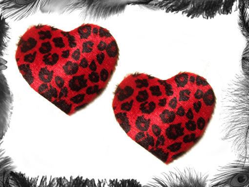 leopard print heart nipple pasties, burlesque, rockabilly