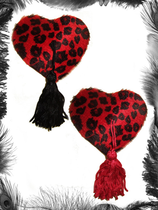 leopard print nipple pasties, burlesque wear