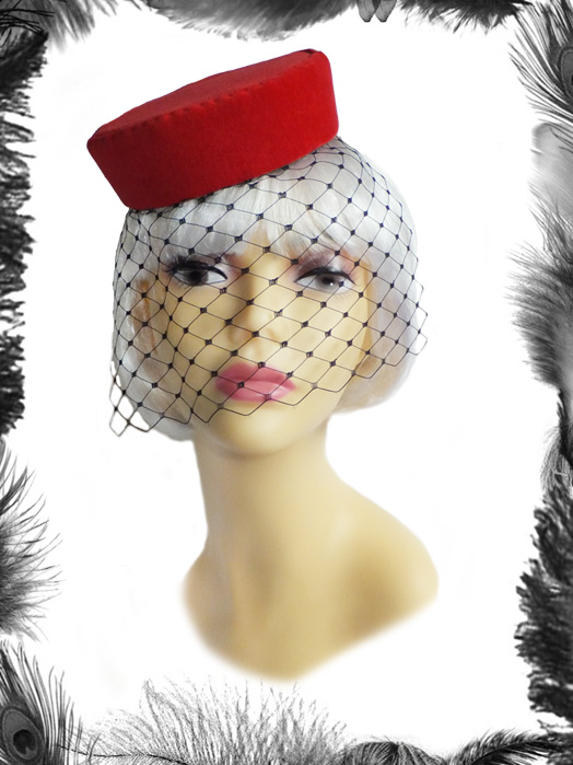 red velvet pill box hat, burlesque, vintage style