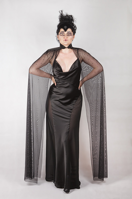 rhinestones mesh couture cape, gothic, red carpet