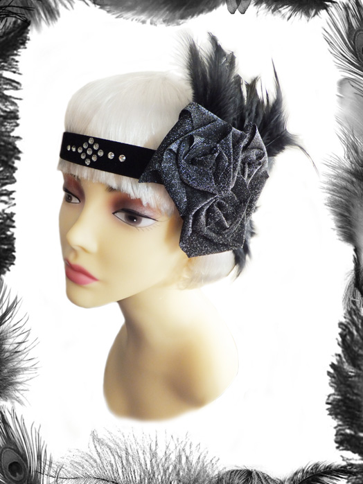 swarovski roses and feathers 1920s flapper headband